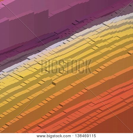Abstract Colorful Vector Cube. Vector Illustration. Purple, Yellow, Orange Colors.