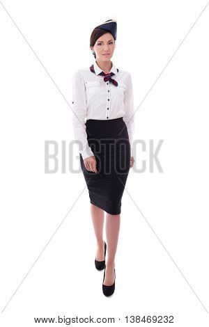 Front View Of Stewardess In Uniform Walking Isolated On White