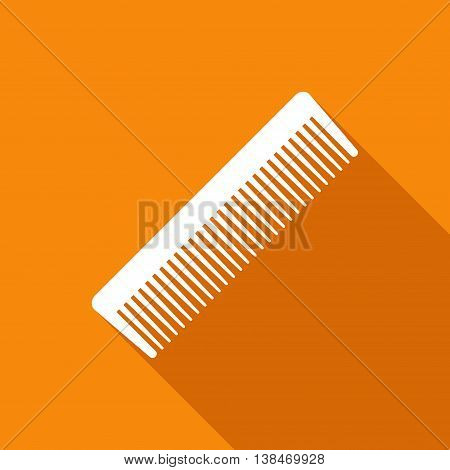 Fashion comb icon and style comb hairdresser care icon equipment. Hair barber comb for styling accessory in flat style on orange background with shadow. Care for themselves
