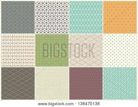 Different vector Seamless patterns Collection. Endless texture can be used for Wallpaper, Textile, pattern fills, web page background, surface textures. Set of vintage color geometric ornaments