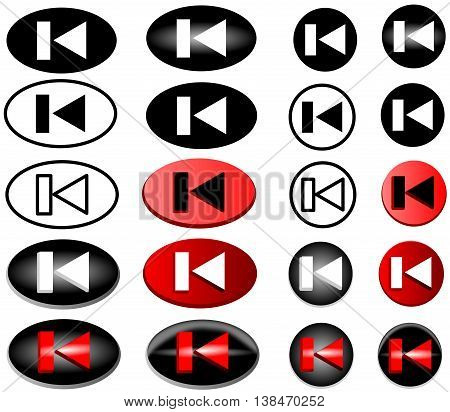 previous web icon , backward icon -button ,back , backward , vector icon set