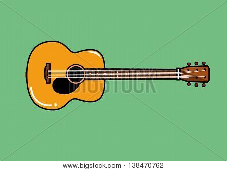 vector illustration of acoustic guitar on green background
