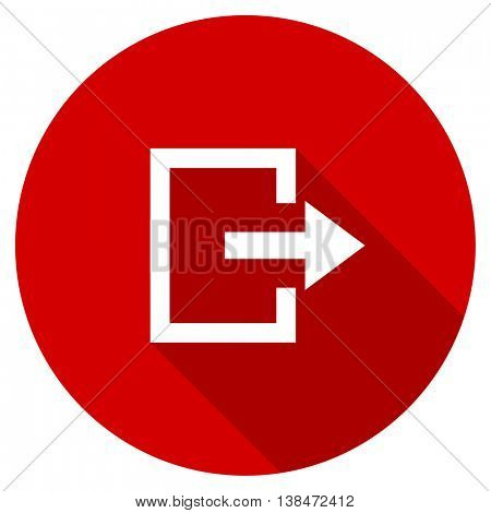 exit vector icon, red modern flat design web element