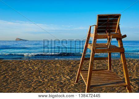 Benidorm Poniente beach watchtower seat in Alicante Mediterranean of Spain
