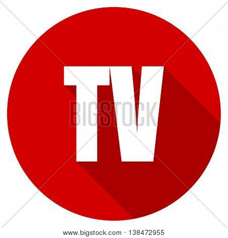 tv vector icon, red modern flat design web element