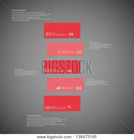 Illustration infographic template with shape of bar. Object horizontally divided to five shifted parts with red color. Each part contains Lorem Ipsum text number and sign. Background is dark.
