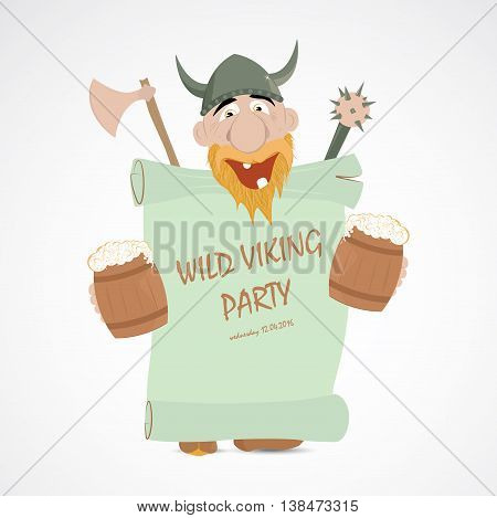 Funny cartoon viking with jugs of beer holding party banner