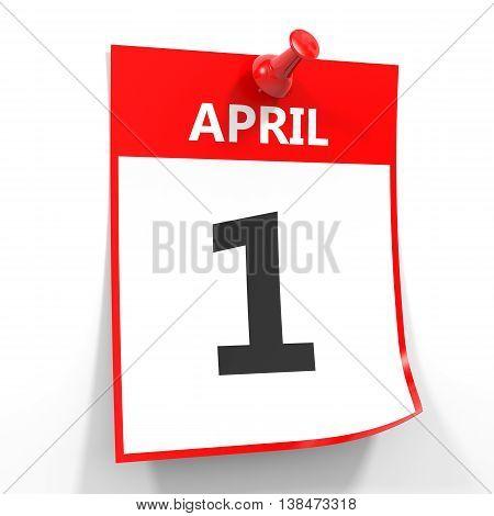 1 April Calendar Sheet With Red Pin.
