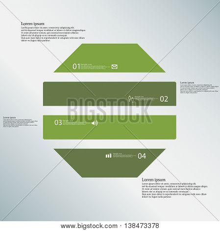 Illustration infographic template with shape of octagon. Object horizontally divided to four parts with green color. Each part contains Lorem Ipsum text number and sign. Background is blue.
