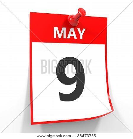 9 May Calendar Sheet With Red Pin.