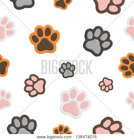 Seamless animal pattern Paw footprint in flat cartoon style. Cat paws on white background.