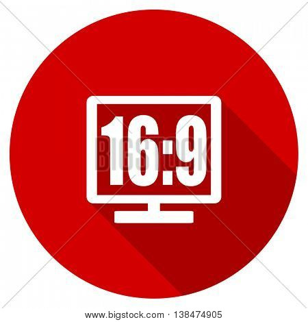 16 9 display vector icon, red modern flat design web element
