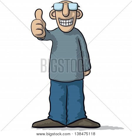 A Character With Thumb Up