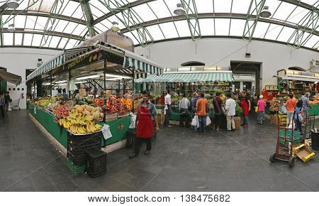 ROME ITALY - JUNE 30: Nuovo Mercato Esquilino in Rome on JUNE 30 2014. Panorama of New Farmers Market Near Termini Station in Rome Italy.