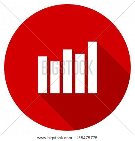 graph vector icon, red modern flat design web element