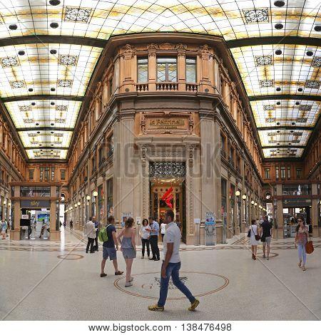 ROME ITALY - JUNE 30: Galleria Alberto Sordi in Rome on JUNE 30 2014. Galleria Colonna Shopping Arcade at Via del Corso in Rome Italy.