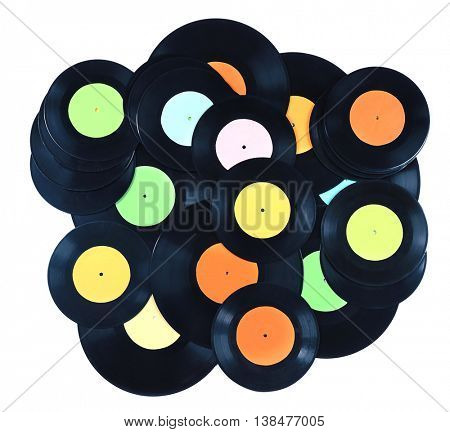 Pile of vinyl records, isolated on white