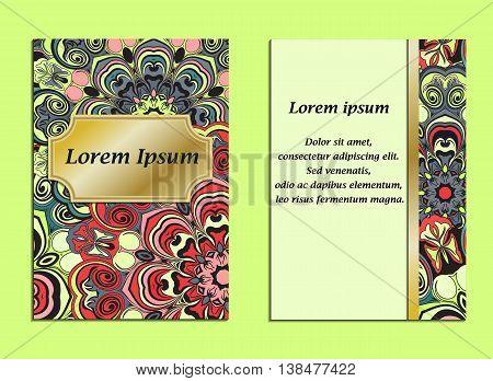 Colorful cover with pattern of mandala in oriental style. Card or brochure vintage design. Floral designed flyer, fron side and back side or frame. Vector illustration.