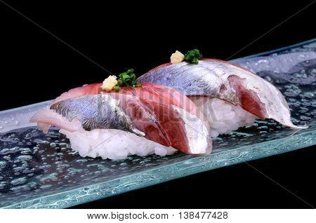 Mackerel sushi fresh Japanese style Aji sushi