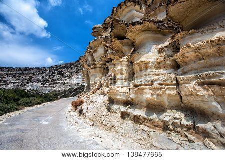 Mushroom shaped mountains on Crete island, Greece