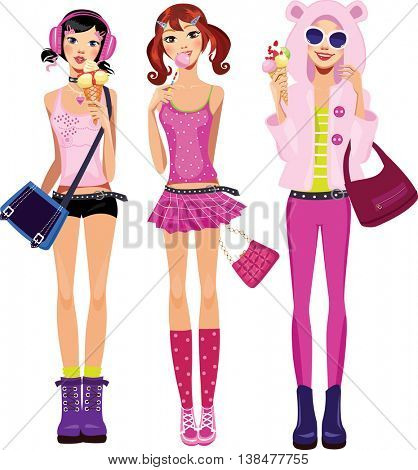 teen girls in pink  clothes with ice cream and lollipop