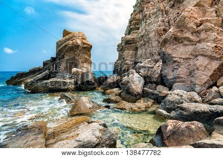 Rocky coasline of Crete island with huge dolomite rocks, Greece