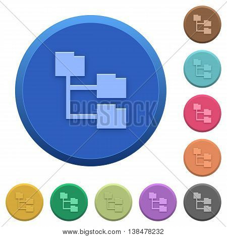 Set of round color embossed folder structure buttons