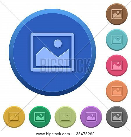 Set of round color embossed picture buttons