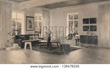 Worn out monotone picture of retro 1960s living room with little sofa, round table, lamps and casement windows. 3d Rendering.