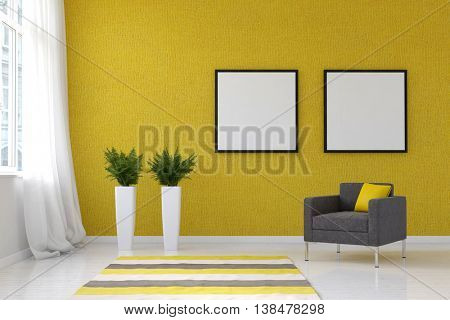 Bright living room with striped throw rug, pai. 3d Rendering.