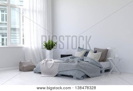 Large casement window with white curtains, fern plant, night stand, lamp and floor cushion beside unmade bed. 3d Rendering.