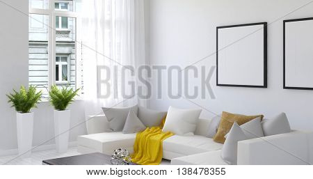 Tranquil 3D rendering of beautiful living room with white walls, large sofa and used yellow blanket on top. Includes open window facing other building and blank picture frames on wall.