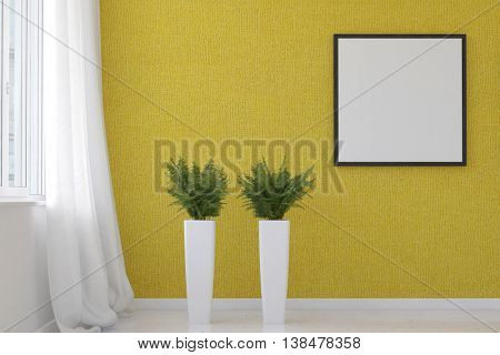 3D rendering of spacious living room scene textured yellow wallpaper, two fern plants on tall stands and blank square picture frame beside white curtain