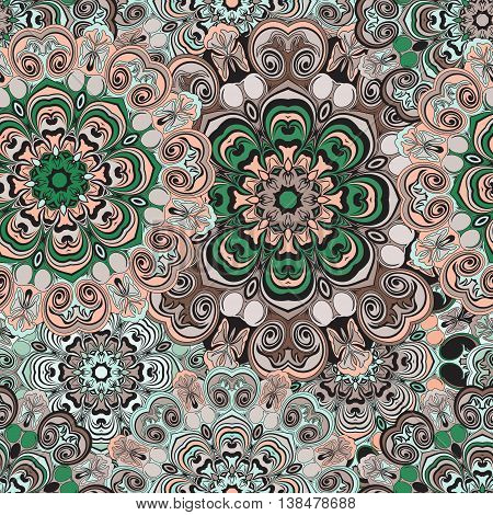 Colored seamless pattern in oriental design, turkish, indian, pakistan or chinese styled wrapping-paper with vintage floral design. Paper in asian motif or ethnic style. Vector illustration.