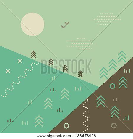 Minimalistic flat vector background. Mountains woods and sunrise landscape. Pastel colors. Eco background