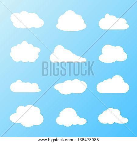 White clouds flat vector set. Clouds design template