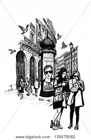Girls in Paris near opera looking for direction - vector illustration