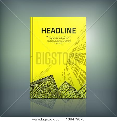 Vector business brochure cover template. Modern background for poster, print, flyer, book, booklet, brochure, magazine and leaflet design. Editable graphic collection in yellow and black colors