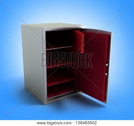 Open Dors Steel Bank Safe 3D Illustration On Dlue Gradient