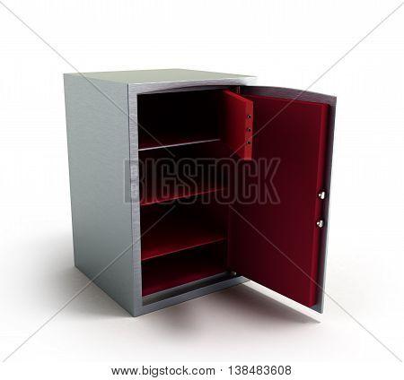 Open Dors Steel Bank Safe 3D Illustration On White