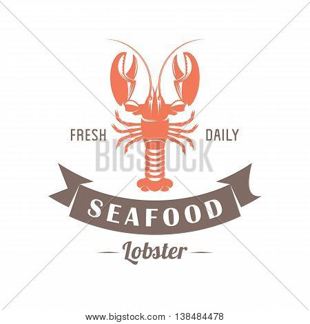 vector illustration emblem seafood restaurant on a white background with a picture of an lobster