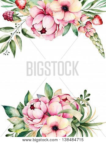 Beautiful watercolor card with place for text with flower, peonies, leaves, branches, lupin, air plant, strawberry.