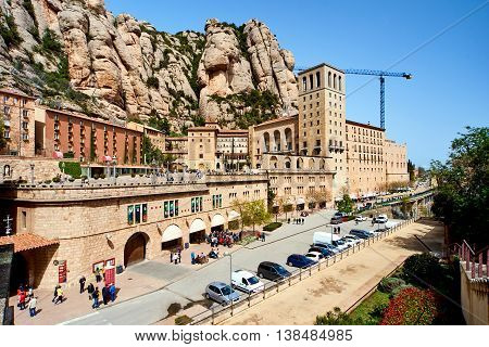 Montserrat Spain - April 6 2016: Spectacular Montserrat mountains and Benedictine monastery of Santa Maria de Montserrat near Barcelona. Spain