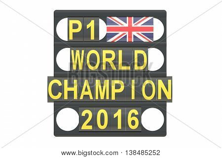 World Champion racing concept pit board with flag of Great Britain 3D rendering