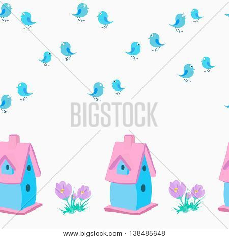 Vector pattern with birdhouse, crocuses and birds. Seamless background for kids.