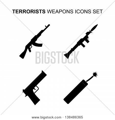 Terrorist weapons icons set. Silhouette vector illustration