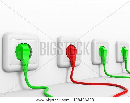 Plugs and socket on white background. 3D illustration.