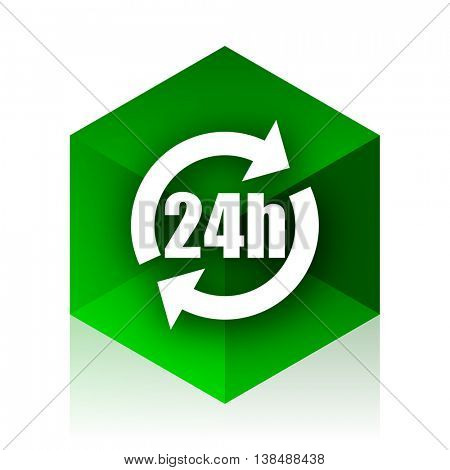 24h cube icon, green modern design web element