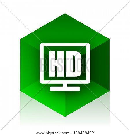 hd display cube icon, green modern design web element