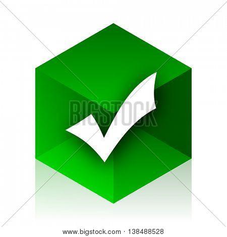 accept cube icon, green modern design web element